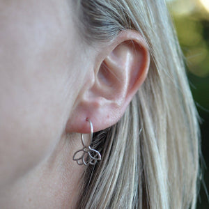 Pearl dainty sleeper hoops silver lotus earring, June birthstone.