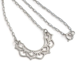 Moon Mandala Silver Necklace