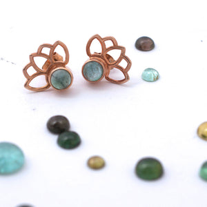 Lotus Rose Gold Plated Green Tourmaline Studs