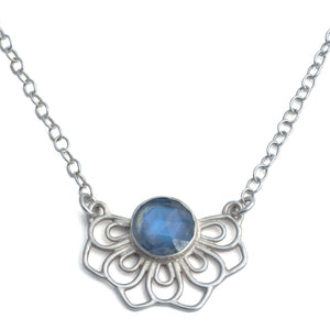 Lotus wings Moonstone Silver necklace