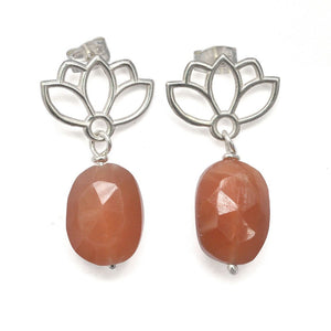Lotus drop Peach Moonstone Silver studs