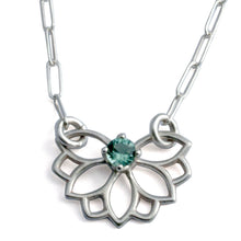 Lotus wings Green tourmaline silver necklace.