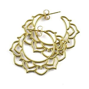 Gold plated silver mandala hoops