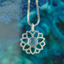 Lotus Mandala Aquamarine Silver Necklace, March Birthstone