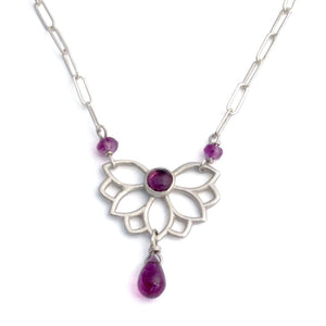 Lotus Wings Pink Tourmaline Silver Necklace