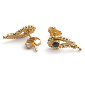 Gold plated silver Garnet earrings.
