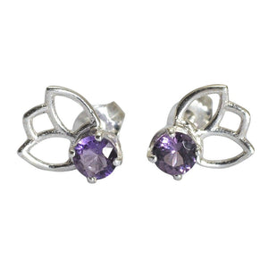 Lotus Purple Spinel Silver Studs