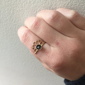 14kt Yellow Gold Mandala Lotus Black Diamond ring