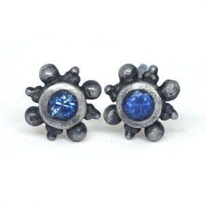 Single or pair Small blue sapphire oxidised silver stud earrings, September birthstone.