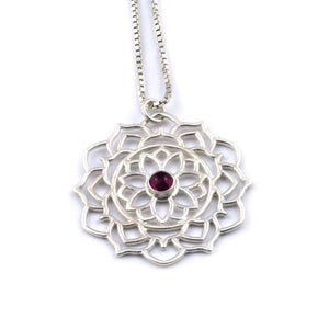 Mandala Pink Tourmaline Pendant, October Birthstone
