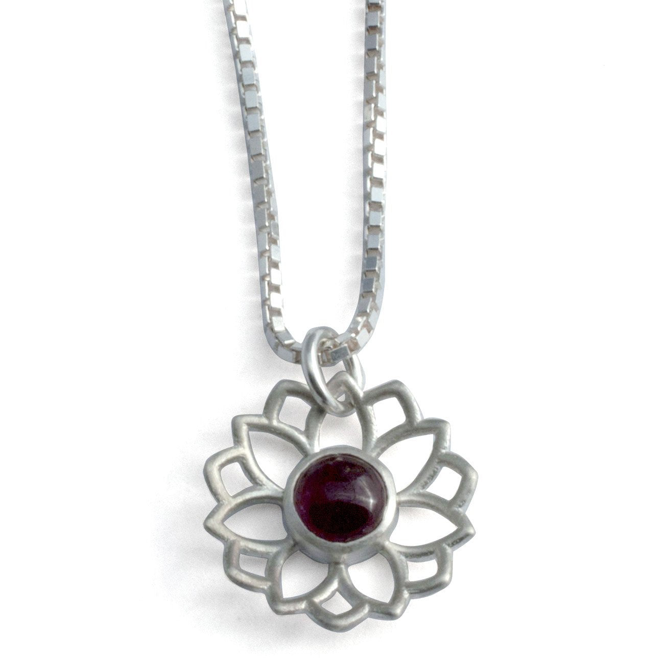 Lotus Mandala Pink Tourmaline Silver Necklace