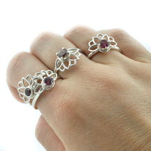 Purple bezel set Spinel Silver Lotus Fan ring