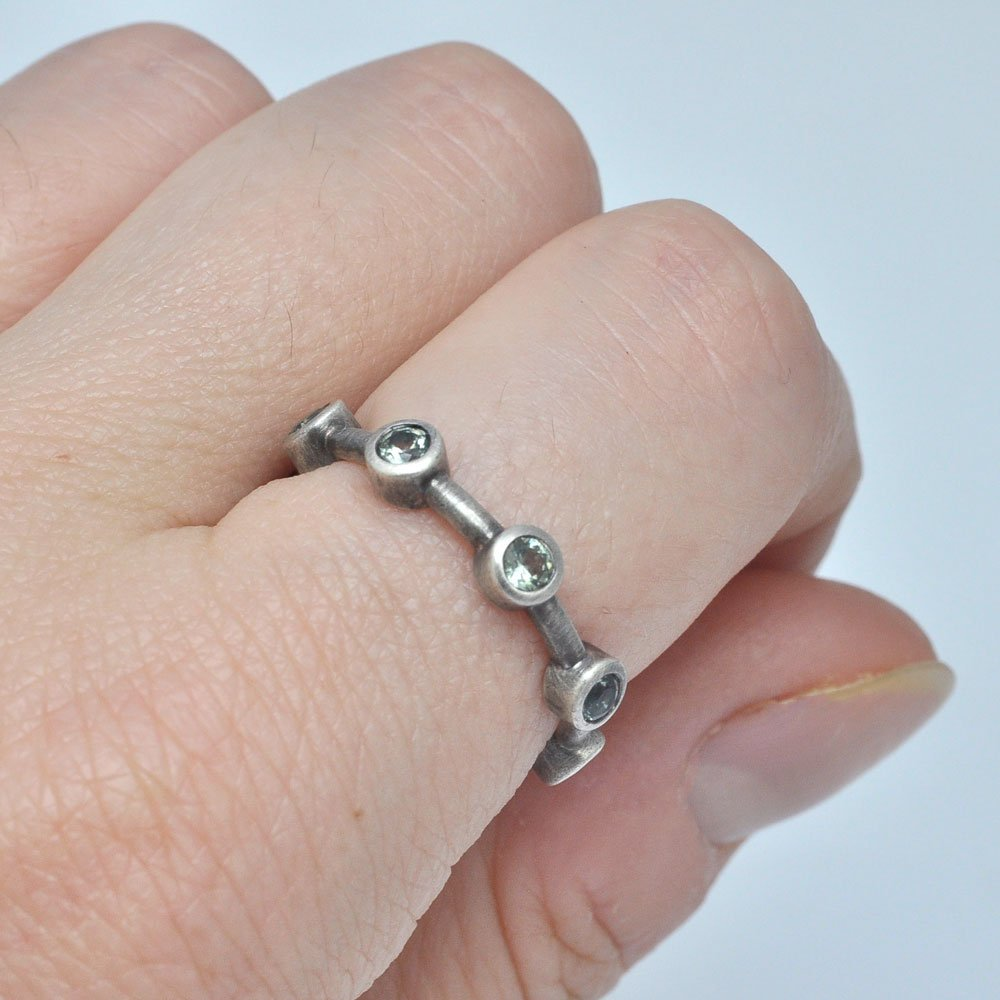 Eternity ring Green sapphire oxidised sterling silver Anniversary ring.