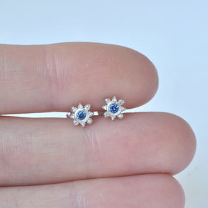 Multiple piercing single Tiny Blue sapphire solid silver earring.