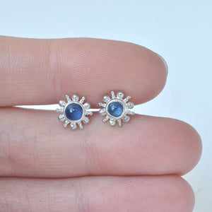 Single earring Sun blue sapphire cabochon silver stud, September birthstone.