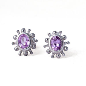 Pink oval sapphire earring, solid sterling silver, single or pair, September birthstone.