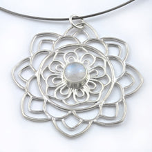 Large Mandala Moonstone Silver necklace, June birthstone