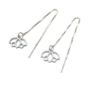 Threader lotus silver earring