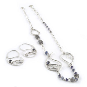 Sterling silver Blue paisley necklace, Labradorite, Iolite, Amethyst and moonstone beads.