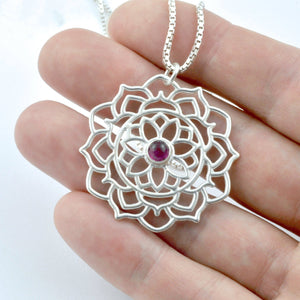 Mandala Black Diamond Silver pendant, April birthstone