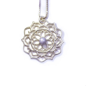 Mandala Star Sapphire Silver necklace, September birthstone
