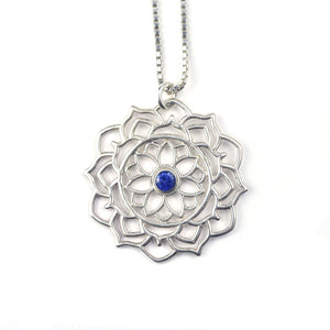 Mandala Blue Sapphire Silver necklace, September birthstone