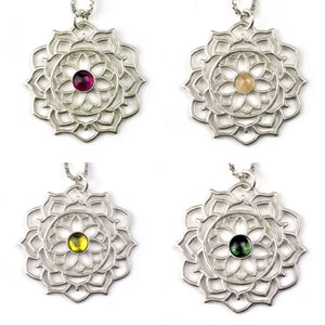 Mandala Tourmaline pink / peach / lime green/ green Silver necklace, October birthstone