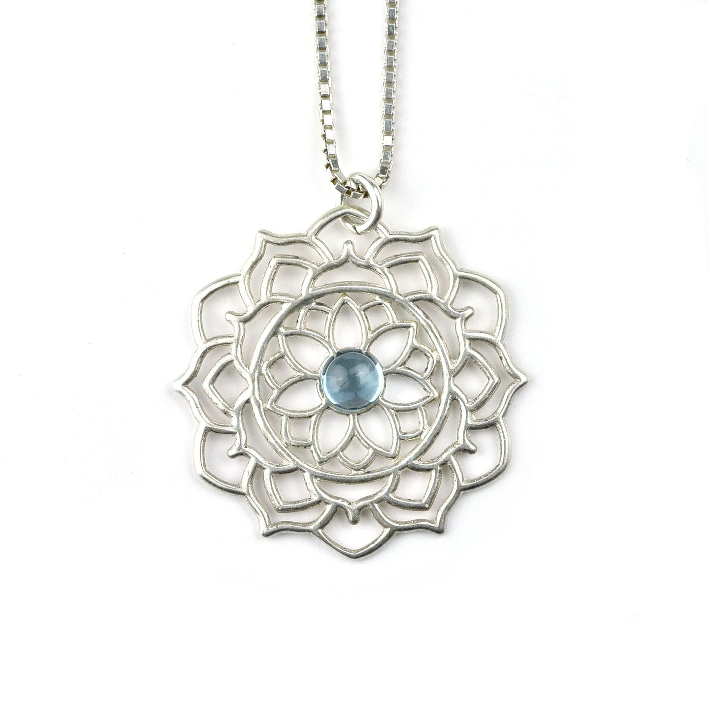 Mandala Blue Topaz silver necklace, November birthday