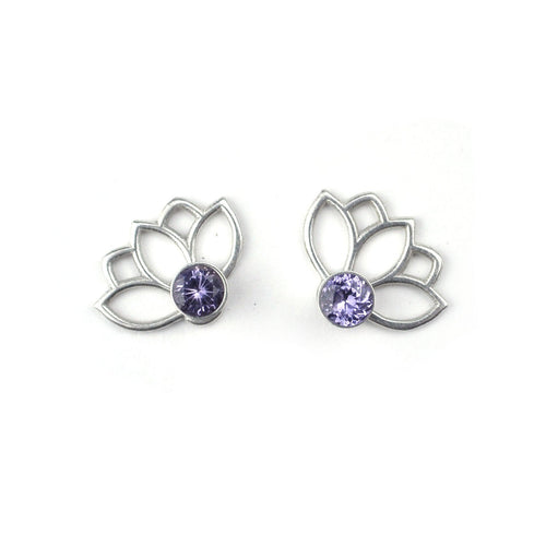 Lotus Purple Spinel Studs, August birthstone