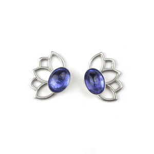 Lotus Tanzanite silver studs, December birthstone