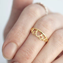 9ct gold Sustainable Wedding ring, tiara Lotus ring, recycled solid yellow gold layering ring, made to order.