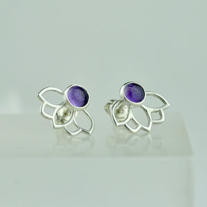 Lotus Custom gemstone Silver studs