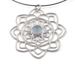 Large Mandala Aquamarine Silver necklace, March birthstone