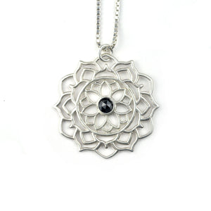 Black diamond sterling silver Mandala pendant, April birthstone necklace, Custom to order