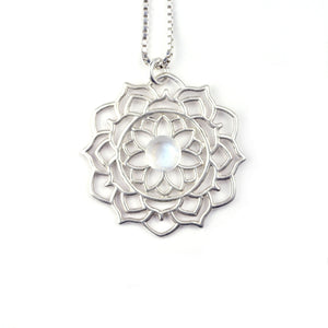 Mandala Pearl Silver Necklace, June birthstone