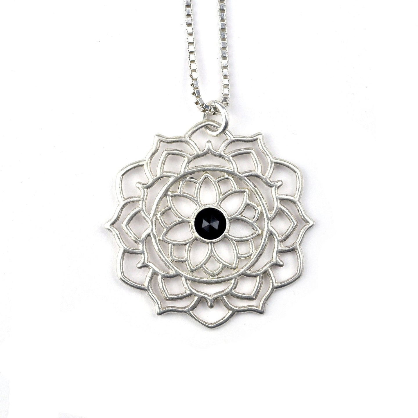 Mandala Black Spinel silver necklace, August birthstone