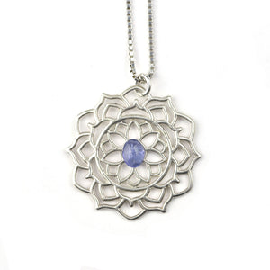 Mandala Tanzanite Silver necklace, December birthstone