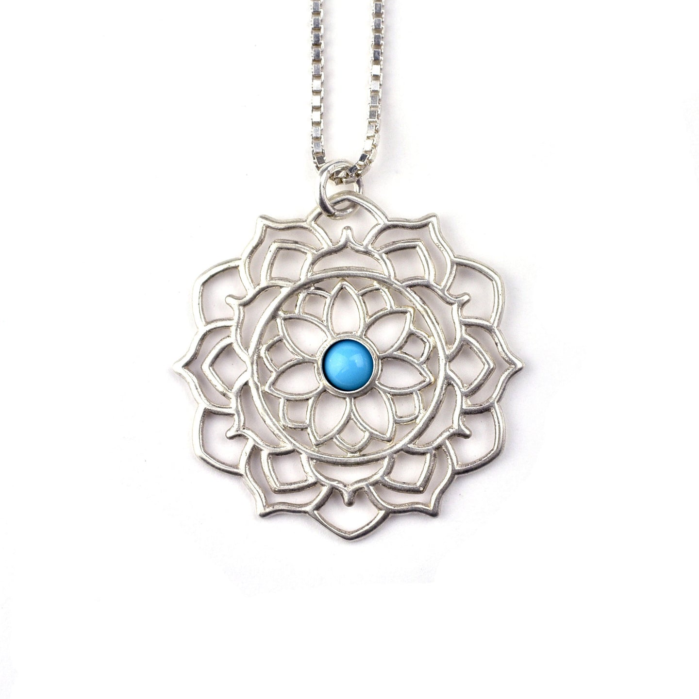 Mandala Turquoise silver necklace, December birthstone