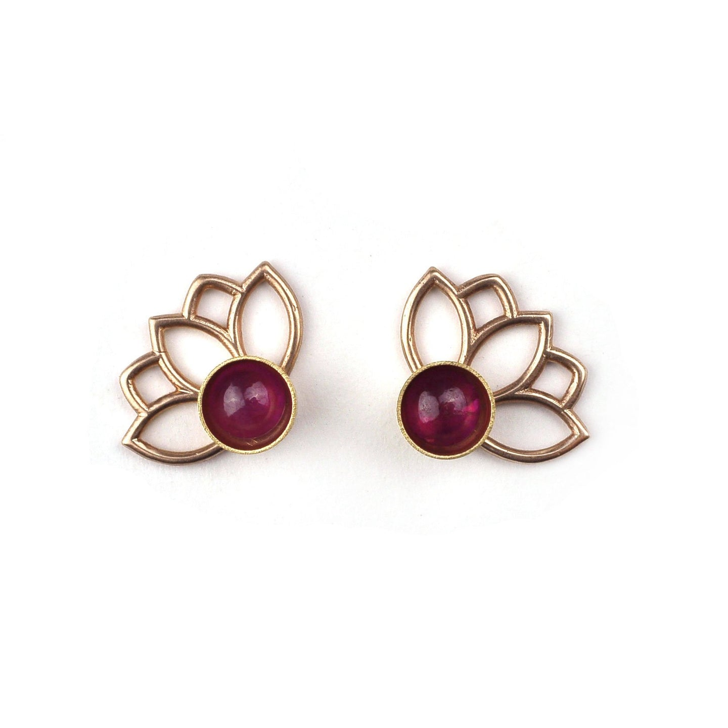 9ct Rose Gold Ruby Lotus Studs, July Birthstone