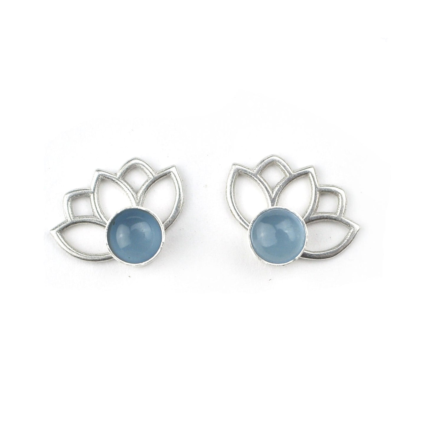 Lotus Aquamarine silver studs, March birthstone