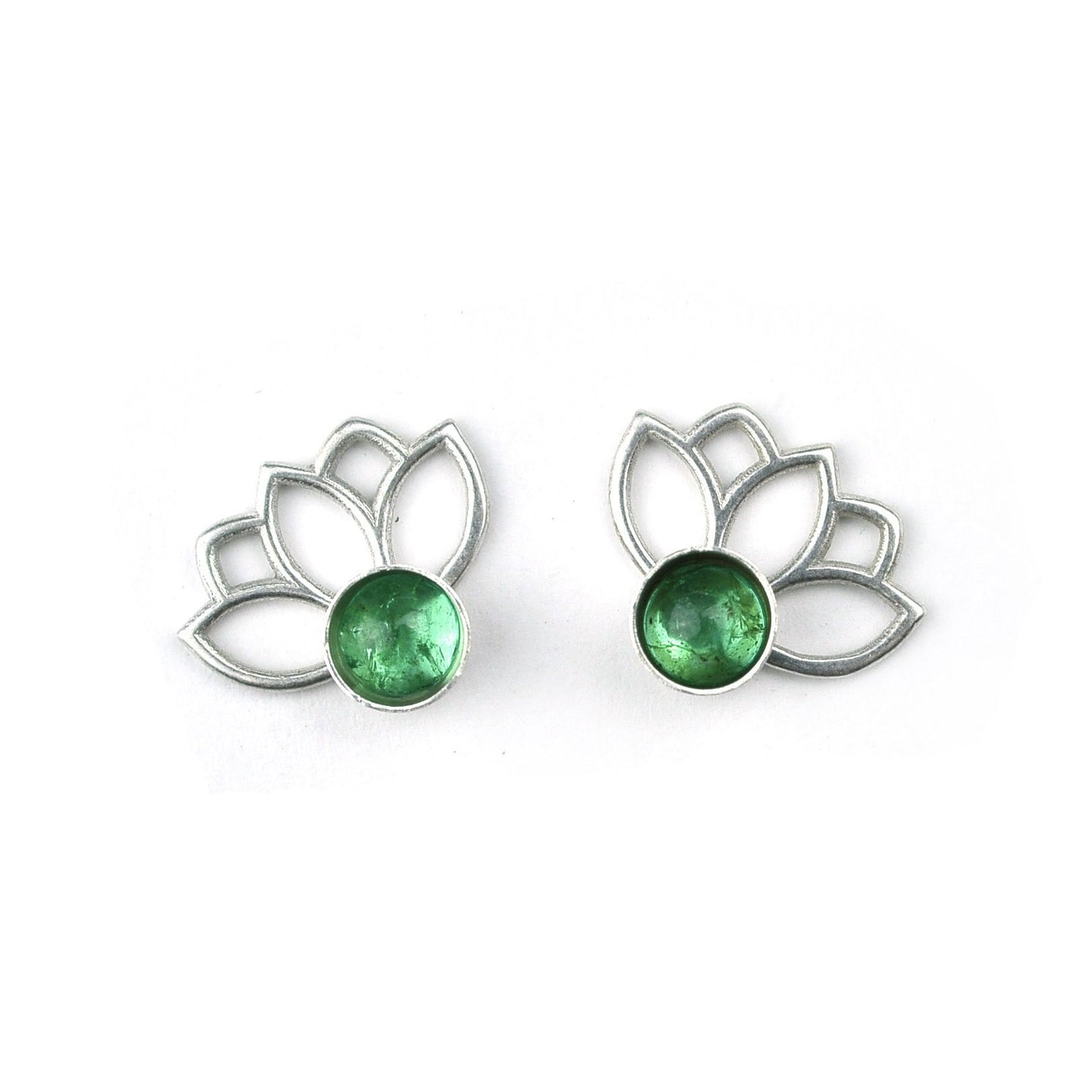 Lotus Emerald Silver Studs, May birthstone