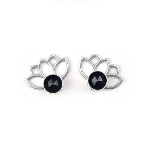 Lotus Black Spinel Silver Studs, August birthstone