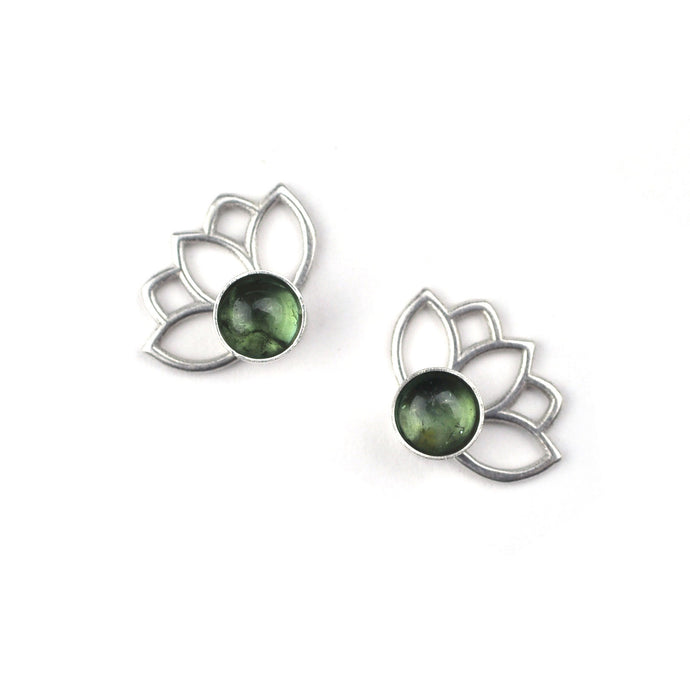 Lotus Green Tourmaline Silver Studs, October Birthstone