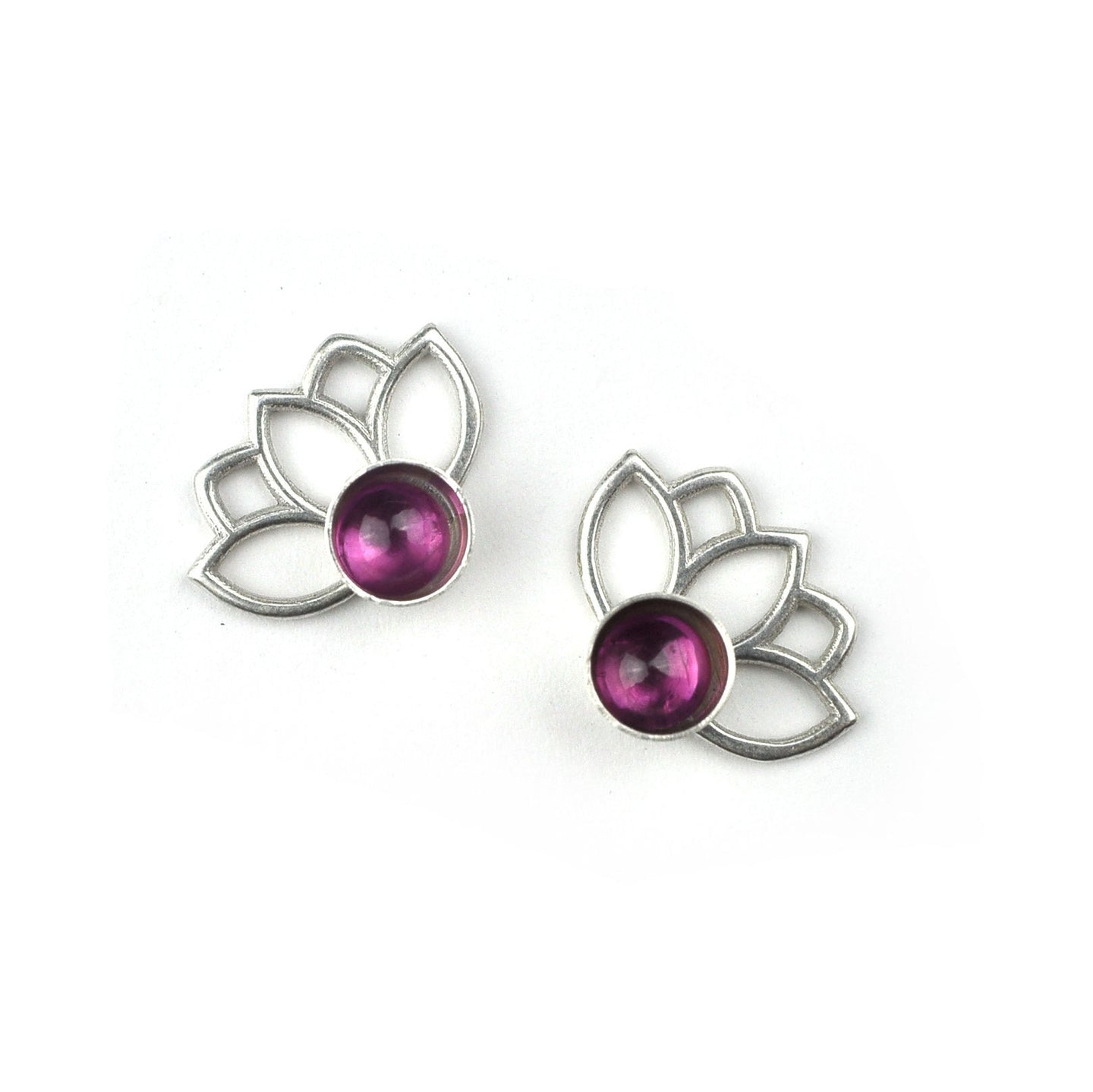 Lotus Pink Tourmaline Silver Studs, October birthstone