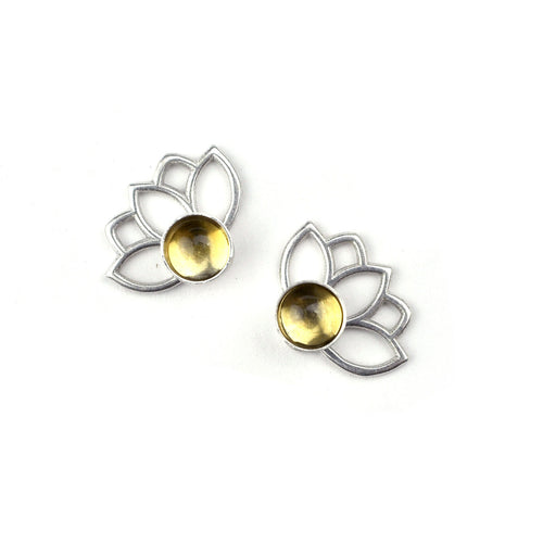 Lotus Citrine Silver Studs, November birthstone