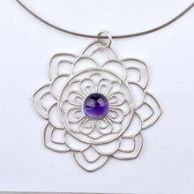 Large Mandala Amethyst silver necklace, February birthstone