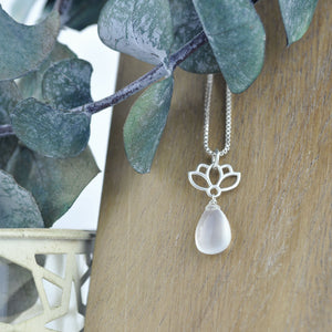 Lotus drop Moonstone Silver necklace