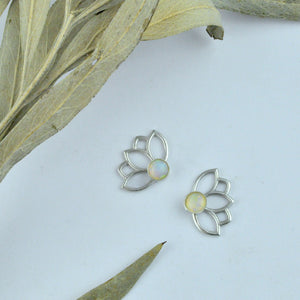 Lotus Opal Silver Studs, October Birthstone