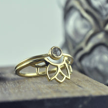 9ct Yellow Gold minimal Grey rose cut diamond ring