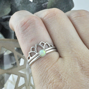 Australian solid Opal Silver Sun fitted ring set.